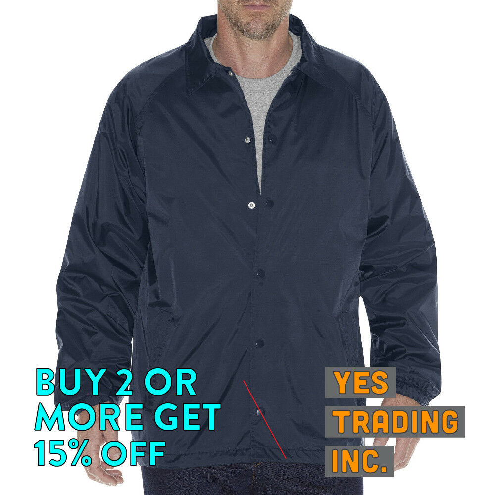 DICKIES 76242 MENS WINDBREAKER JACKET SNAP FRONT WATERPROOF
