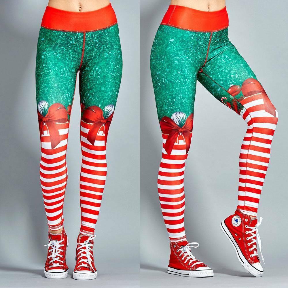 Womens Christmas Xmas Yoga Leggings Gym Sport Fitness Pants Workout Trousers US 8