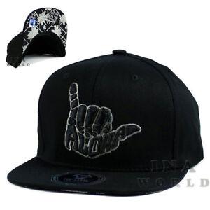 940f503270cbb ALOHA HAWAII Hawaiian hat cap Snapback Flat bill Cotton Baseball cap- Black