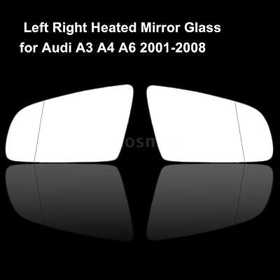 Left  Right Drive Side Door Mirror Glass with Heated for Audi A3 A4 A6 2001 08
