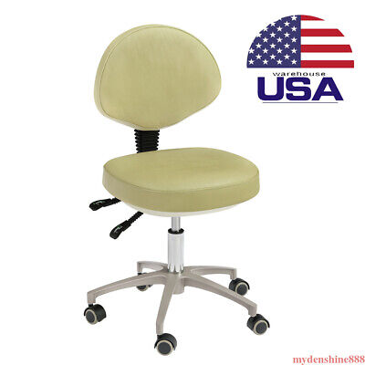 Dental Dentist Assistant Chair Doctor Stool Rolling Pu Leather Adjustable Height