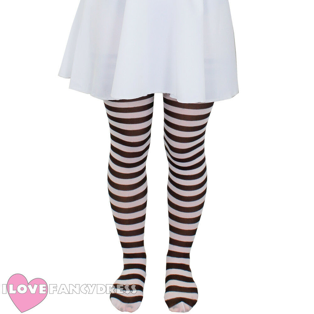 1f455999a3b8d CHILD BROWN AND WHITE STRIPED TIGHTS SCHOOL BOOK WEEK FANCY DRESS ACCESSORY