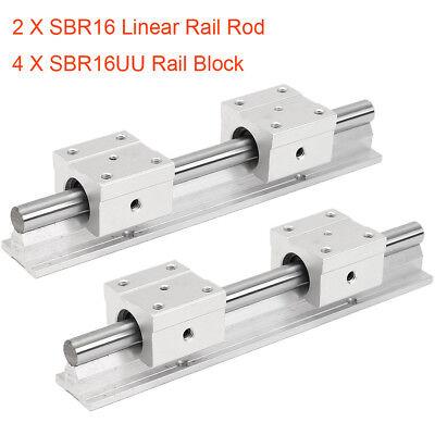 16mm Linear Rail Rod Sbr16 200-1000mm 4pc Sbr16uu Rail Block Fully Supported