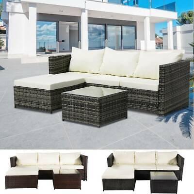 Garden Furniture - RATTAN GARDEN FURNITURE SET CORNER SOFA GLASS TABLE OUTDOOR COMFORT 4 SEATER UK
