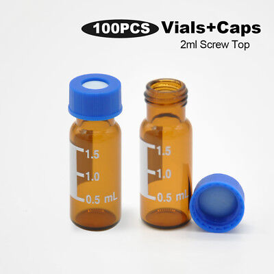 100pcs 2ml Lab Sample Bottle Medical Amber Glass Storage Container Screw Caps
