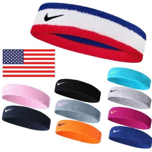 US Headband Swoosh Sports Running Workout Yoga Gym Sweat Band Headband Unisex