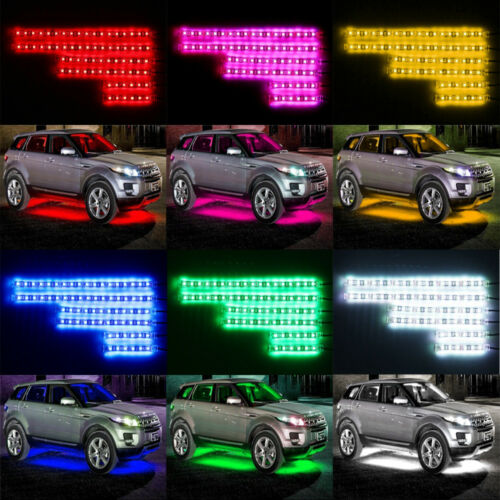 6PCS Motorcycle Led Lights Wireless Remote 18 Color Neon Glow Light Strips Kit 3