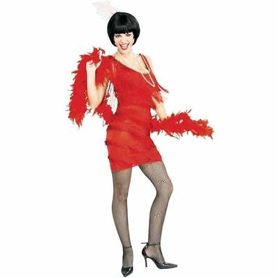 1920s Red Flapper Costume the Great Gatsby Women Fringe Fancy Dress Small ()