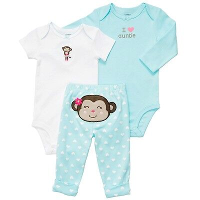 NWT Carters Baby Girls 3 Piece Bodysuit Set Clothes 12 18 24 months Blue Monkey