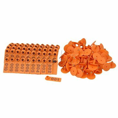 100 Sets Orange 1-100 Number Plastic Livestock Ear Tag For Goat Sheep Pig