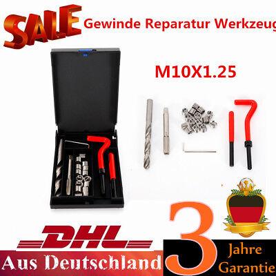 M10X1.25 Gewinde Reparatur Werkzeug Satz Bohrer Helicoil Auto Motor Tragbar DE