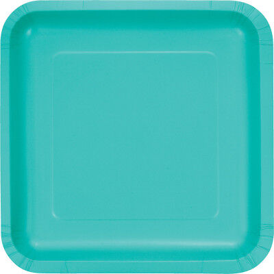 (36 Pack) Teal Lagoon Square 9-inch Paper Plates Wedding Birthday Shower Party