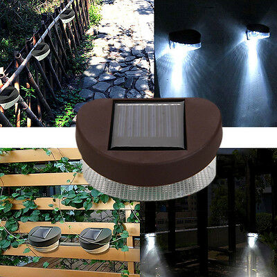 2-LED Solar Fence Light Powerful Outdoor Garden Yard LED Light White Light