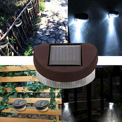 2-LED Solar Fence Light Powerful Outdoor Garden Yard LED Light White Light
