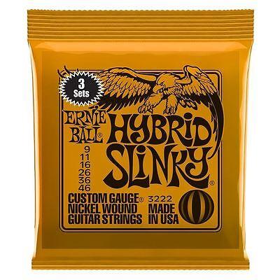 Ernie Ball 3 Pack Hybrid Slinky Nickel Wound Cuerdas Guitarra Eléctrica Calibre