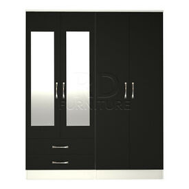 Hampton 4 door 2 drawer mirrored wardrobe white and black