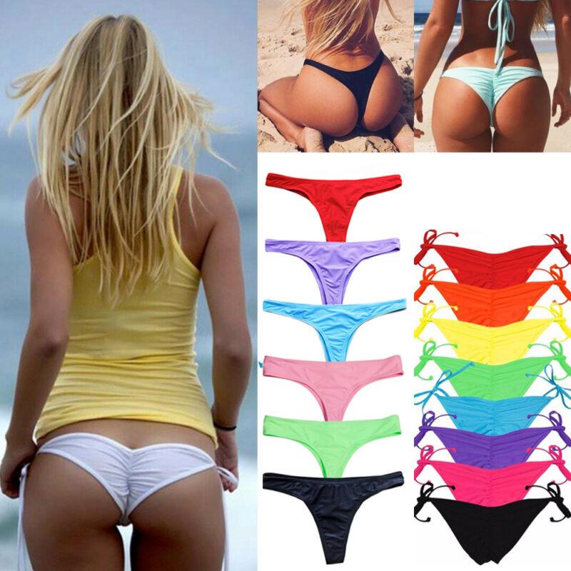 Damen Bikini Bade Hose G-String Thong Tanga Slip Strand Bikinislip Stringtanga
