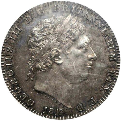 1819 Great Britain Crown, LIX Edge, PCGS AU 58