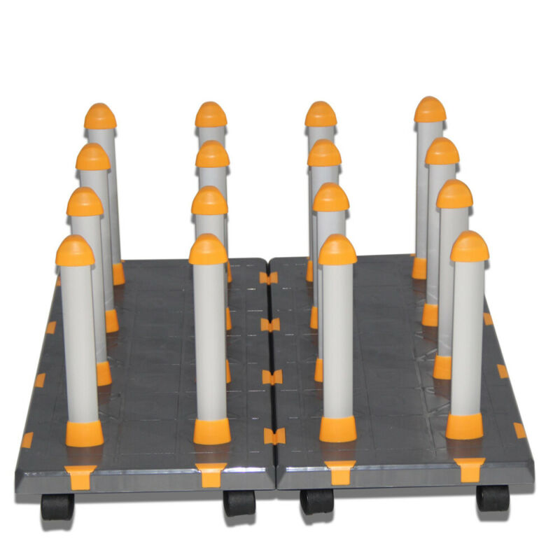US Detachable Free Assembly Mobile Material Floor Rack for Vinyl, with 2 Modules