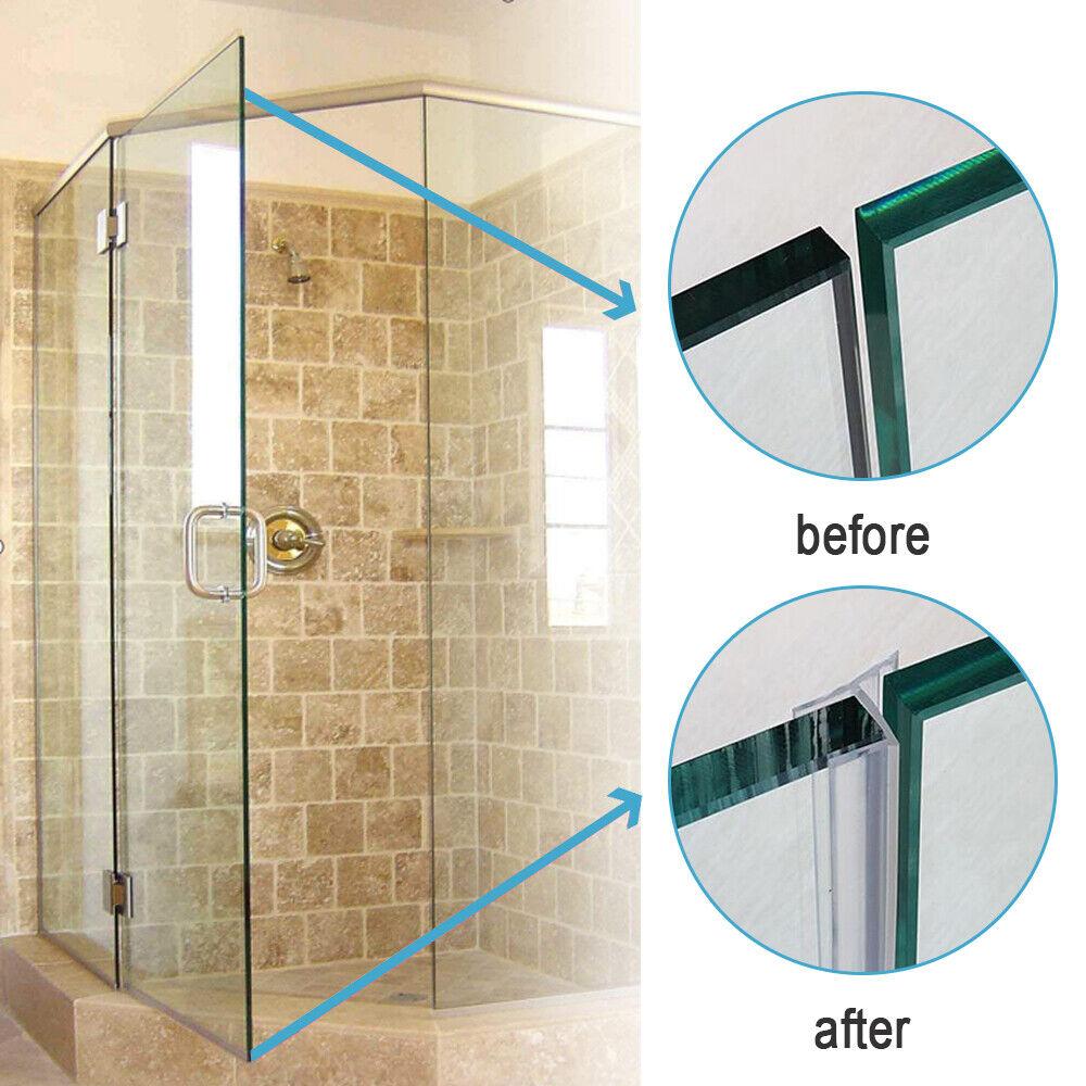 """x 78.74/"""" Frameless Glass Shower Door Sweep Seal h-Type 20mm Drip Rail 1//2/"""" 12mm"""