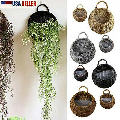 Wall Fence Hanging Planter Plant Flower Pots Handmade Rattan Baskets Garden Usa