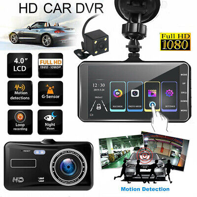 Car DVR Recorder /w 4'' Touch Screen Dual Dash Camera 1080P Front & Rear Cam