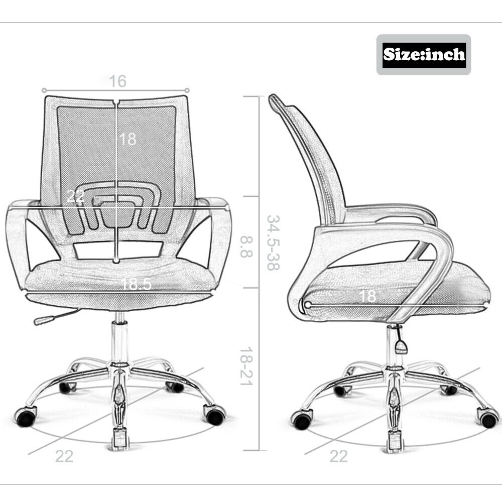 New Ergonomic Mesh Computer Office Desk Midback Task Chair w/Metal Base H03 Chairs