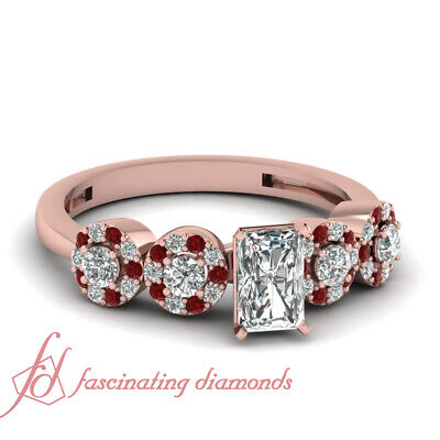 1.50 Ct GIA Certified Radiant Cut Diamond Engagement Rings Pave Set With Ruby