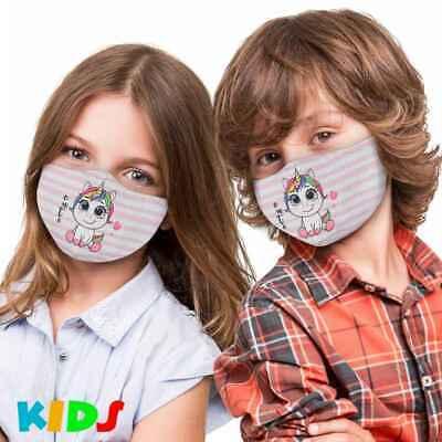 Stoffmaske Kinder Einhorn Herz Cute Comic Mundschutz Maske Kindermaske Unicorn