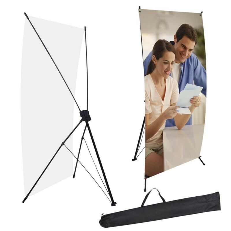 """Commercial X Banner Display Stand 24"""" wide 63"""" tall + travel bag Trade Show"""