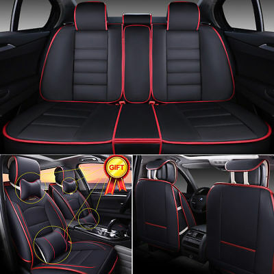 - 5-Seats Car Seat Cover Full Front+Rear Cushion Size L Deluxe PU leather W/Pillow