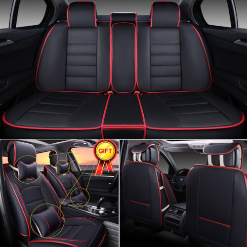 Car Parts - 5-Seats Car Seat Cover Full Front+Rear Cushion Size L Deluxe PU leather W/Pillow