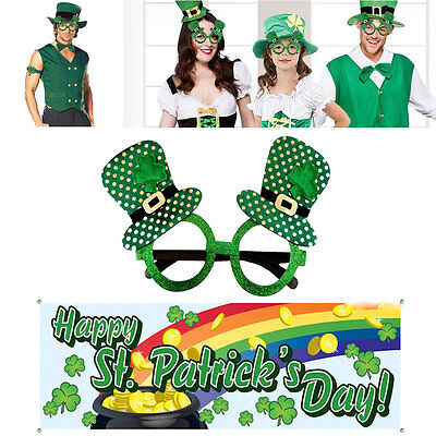St Patricks Day Green Top Hat Glasses Shamrock Irish Party Patty Pats Decoration