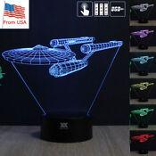 Star Trek USS Enterprise 3D Acrylic LED Night Light Touch Table Desk Lamp Gift