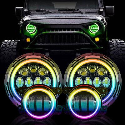 "Muti-Color 7"" RGB LED Halo Headlights Fog Light Combo Kit for Jeep Wrangler JK"