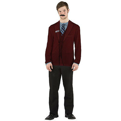 FAUX REAL Anchorman COSTUME TEE Ron Burgundy TSHIRT Halloween Party WILL FERRELL