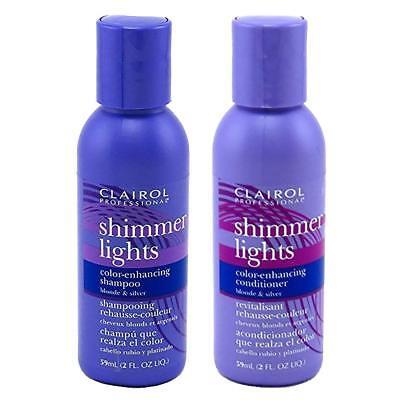 Clairol Silver Shampoo (Clairol Shimmer Lights Blonde & Silver Shampoo & Conditioner 2oz Set Travel Size)