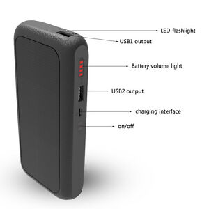 10000mAh Solar Battery Charger Dual USB Power Bank for Iphone For Mobile Phone