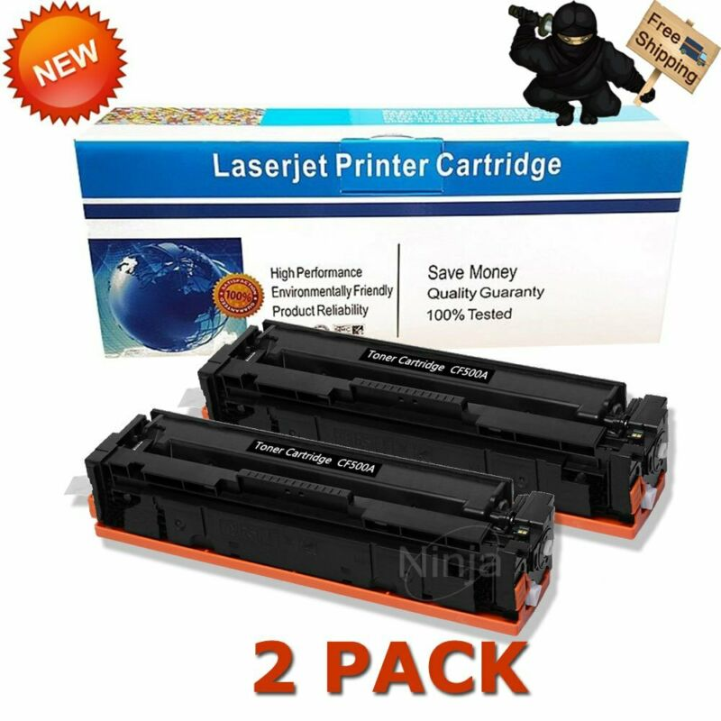 2pk Black Toner for HP CF500A 202A Color LaserJet Pro M254dw M281cdw M281fdw MFP