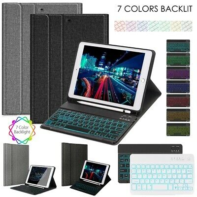 """For iPad 7th 10.2"""" 9.7"""" 2018 Air Pro 10.5"""" Wireless Keyboard Leather Case Cover"""