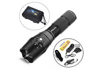 Powerful Led Rechargeable CREE XM-L T6 Tactical Torch, Zoomable Lamp 18650/AAA + Charger +Gift Box
