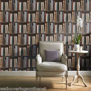 Image Is Loading Bookcase Library Books Shelves Designer Wallpaper Printed On
