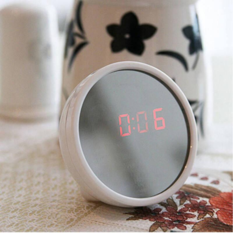 Stylish Digital Alarm Clock Mini Home Clock Mirror Surface LED Clock Nightlight