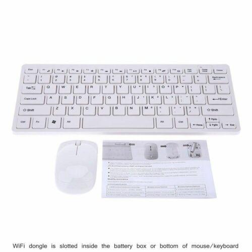 "White Wireless Mini Keyboard and Mouse for SAMSUNG UE55MU7000 55/"" SMART TV"