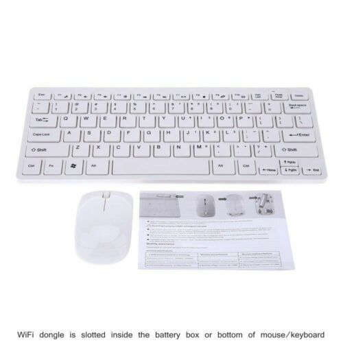Black Wireless Mini Ultra Slim Keyboard and Mouse For Easy Smart TV Contol for Toshiba 40L3553DN Smart TV