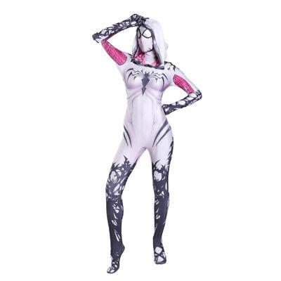 Spider Woman Costume Kids (2019 Venom Spider Gwen Stacy Adult & kid 3D Print Lycra Zentai Costume)