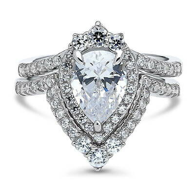 BERRICLE Sterling Silver Pear Cut CZ Crown Halo Engagement W