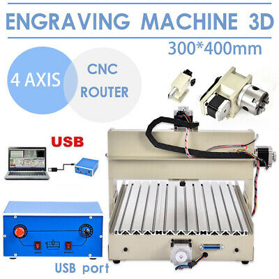 34axis Cnc 304060406090 Router Engraver Machine Usb Wood Metal Cutter Desktop