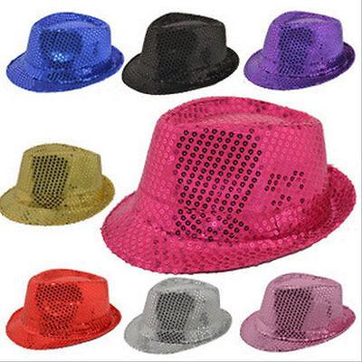 New Unisex Fedora Sequin Hat Shiny Sparkle Cap Costume Prom Dance Party Jazz Cap - Sequin Fedora
