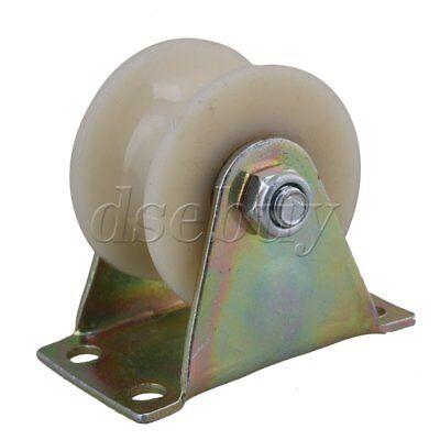 2 Dia Beige 45 Steel Rigid Top Plate Nylon U Groove Rigid Caster Wheel